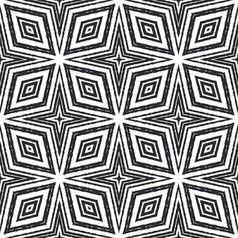 Padrão geométrico sem emenda. fundo preto caleidoscópio simétrico. estampado apelativo pronto para têxteis, tecido para fatos de banho, papel de parede, embrulho. desenho geométrico de desenho sem costura.