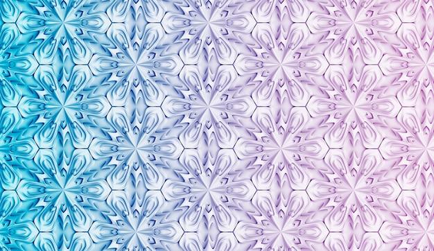 Padrão geométrico tridimensional brilhante com transição de cor gradiente