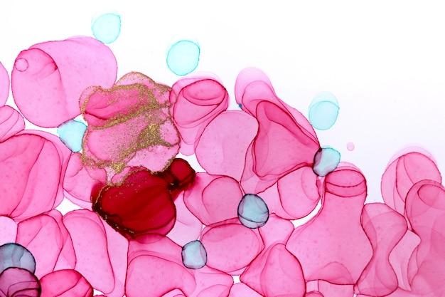 Padrão handdrawn verde e rosa isolado no fundo branco. textura de aquarela transparente.