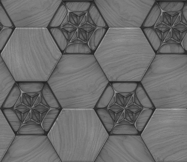 Padrão sem emenda 3d de telhas de hexágono de madeira cinza com elementos de decoração pretos.