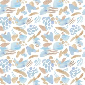 Padrão sem emenda abstrato azul e bege. estilo de design de formas geométricas.