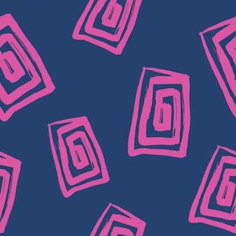 Padrão sem emenda abstrato com forma de retângulo desenhada à mão feita com pincel
