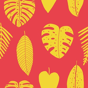 Padrão sem emenda abstrato desenhado à mão com folhas tropicais