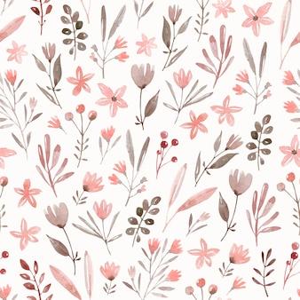 Padrão sem emenda aquarela desenhada de mão. plantas selvagens, flores selvagens. prado fofo com diferentes plantas e flores