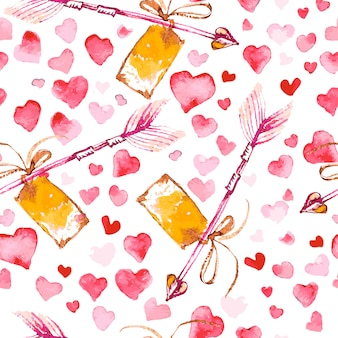 Padrão sem emenda artístico com corações aquarela mão desenhada isolados no fundo branco. pinte o desenho. amor e tema romântico.