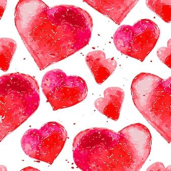Padrão sem emenda artístico com corações aquarela mão desenhada isolados no fundo branco. pinte o desenho. bom para design de cartão de dia dos namorados, pacote de papel. amor e tema romântico.