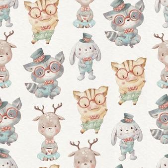 Padrão sem emenda bonito dos desenhos animados animais leitão coelho guaxinim fulvo.