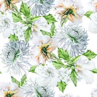Padrão sem emenda brilhante com flores. ã â¡hrysanthemum. malva. rosa. ilustração em aquarela. desenhado à mão.