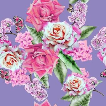 Padrão sem emenda brilhante com flores. ilustração em aquarela. desenhado à mão.