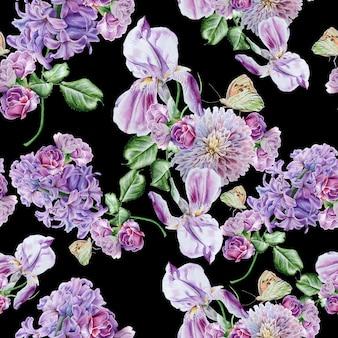 Padrão sem emenda brilhante com flores. lilás. íris. borboleta. ilustração em aquarela. desenhado à mão.