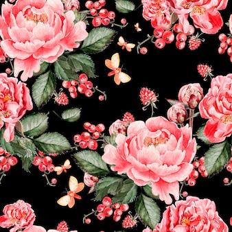 Padrão sem emenda brilhante com flores peônia e framboesas. ilustração