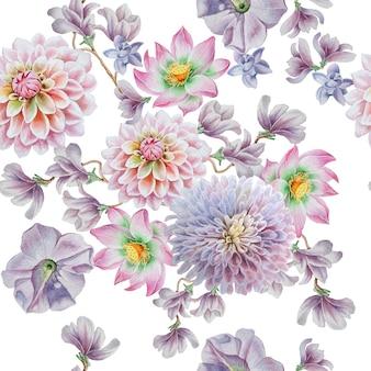 Padrão sem emenda brilhante com flores. petúnia. dália. lótus. ilustração em aquarela. desenhado à mão.