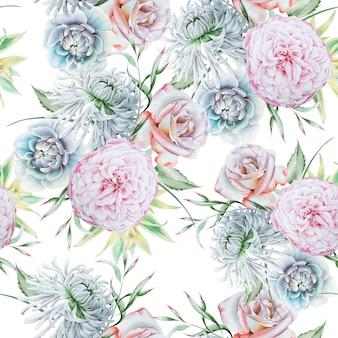 Padrão sem emenda brilhante com flores. rosa. crisântemo. peônia. ilustração em aquarela. desenhado à mão.