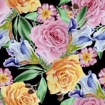 Padrão sem emenda brilhante com flores. rosa. íris. ilustração em aquarela. desenhado à mão.