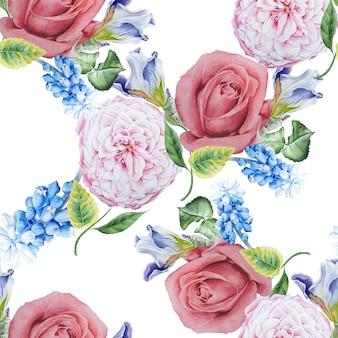 Padrão sem emenda brilhante com flores. rosa. íris. jacinto. ilustração em aquarela. desenhado à mão.