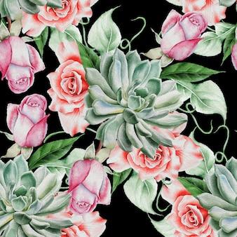 Padrão sem emenda brilhante com flores. rosa. suculenta. ilustração em aquarela. desenhado à mão.