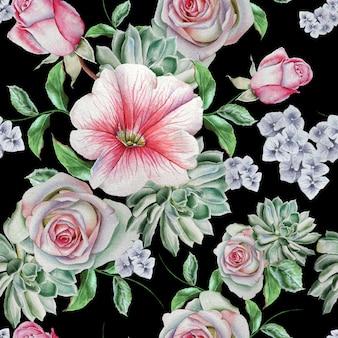 Padrão sem emenda brilhante com flores. rosa. suculentos. malva. ilustração em aquarela. desenhado à mão.