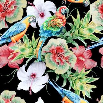 Padrão sem emenda brilhante com papagaios e flores. hibiscus. bromélia. ilustração em aquarela. desenhado à mão.