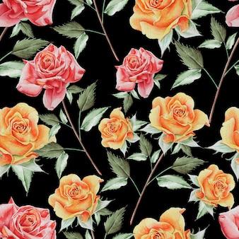 Padrão sem emenda brilhante com rosas. ilustração em aquarela. desenhado à mão.