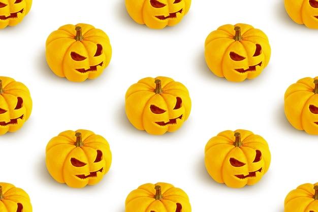 Padrão sem emenda com abóboras de halloween em renderização 3d branca.