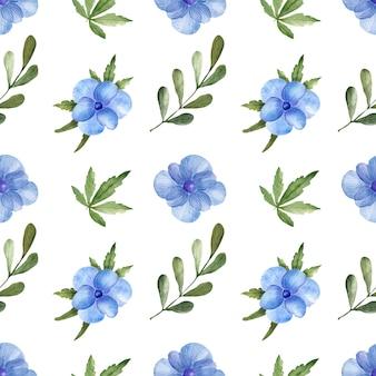 Padrão sem emenda com aquarela anêmona azul e folhas verdes, isoladas no fundo branco. a impressão floral delicada é perfeita para têxteis, papel de embrulho, design de embalagens.
