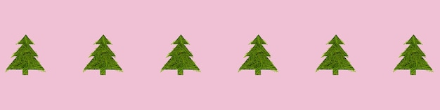Padrão sem emenda com árvores de natal verdes em um fundo rosa. conceito de ano novo e natal. banner de formato largo