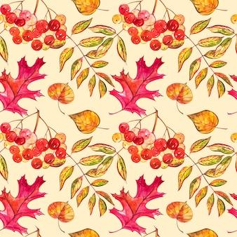 Padrão sem emenda com bolotas e folhas de carvalho outono em laranja, bege, marrom e amarelo.