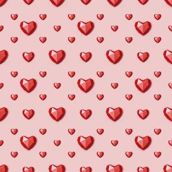 Padrão sem emenda com coração de papel poligonal vermelho sobre fundo rosa.