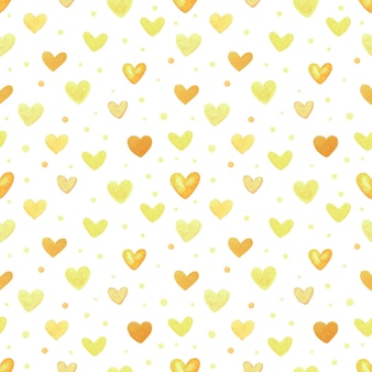 Padrão sem emenda com corações amarelos. mão-extraídas ilustração em aquarela. elementos decorativos para design. trabalho de arte criativa