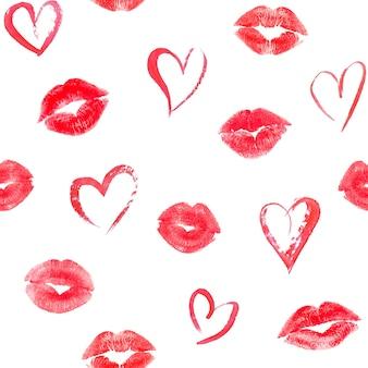 Padrão sem emenda com corações e traços de lábios cor de rosa beijos na superfície branca