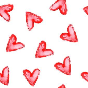 Padrão sem emenda com corações vermelhos em fundo branco