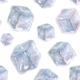 Padrão sem emenda com cubos de gelo desenhados à mão em aquarela sobre uma superfície branca