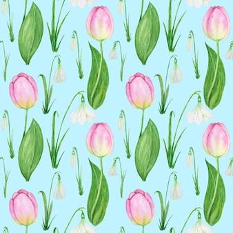 Padrão sem emenda com floco de neve e tulipa flores da primavera aquarela ilustração fundo