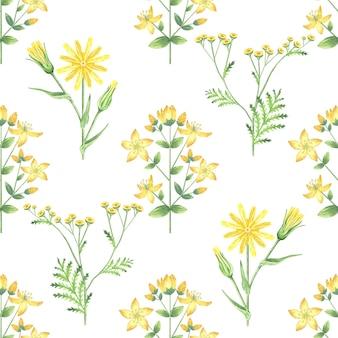 Padrão sem emenda com flores amarelas.
