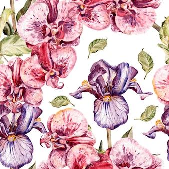Padrão sem emenda com flores da orquídea e flores de íris. ilustração.