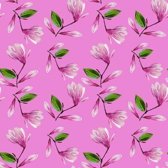 Padrão sem emenda com flores desabrochando de magnólia e folhas. ilustração de guache. padrão em fundo rosa isolado