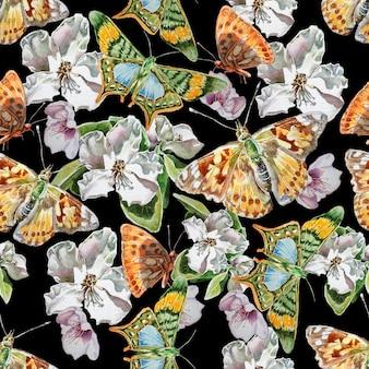 Padrão sem emenda com flores e borboletas