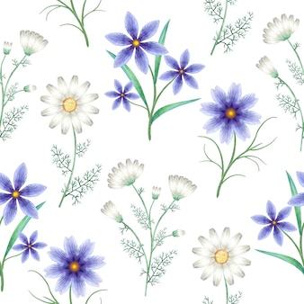 Padrão sem emenda com flores em aquarela do prado. plantas selvagens em branco.