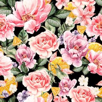 Padrão sem emenda com flores em aquarela. peônias, anêmonas, frutas cítricas e rosas. ilustração