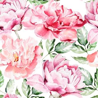 Padrão sem emenda com flores em aquarela. peônias. ilustração