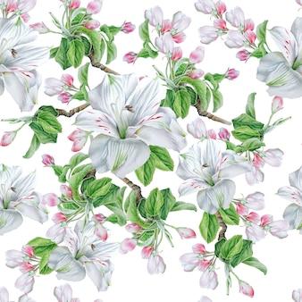 Padrão sem emenda com flores. florescer. alstroemeria. ilustração em aquarela. desenhado à mão.