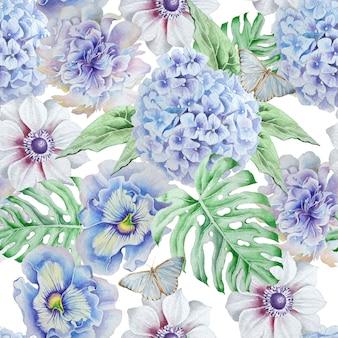 Padrão sem emenda com flores. monstera. anêmona. pansies. hudrangeya. ilustração em aquarela. desenhado à mão.