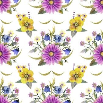 Padrão sem emenda com flores silvestres e folhas no fundo branco. padrão floral para papel de parede ou tecido