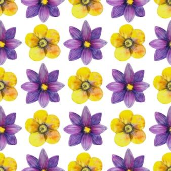 Padrão sem emenda com flores silvestres em fundo branco. padrão floral para papel de parede ou tecido