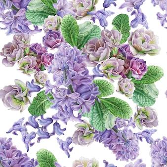 Padrão sem emenda com flores. viola. jacinto. ilustração em aquarela. desenhado à mão.