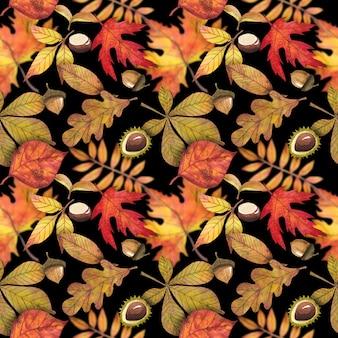 Padrão sem emenda com folhas de outono, para decoração de outono design e para scrapbooking.