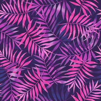 Padrão sem emenda com folhas de palmeira tropical rosa e roxa em fundo escuro.
