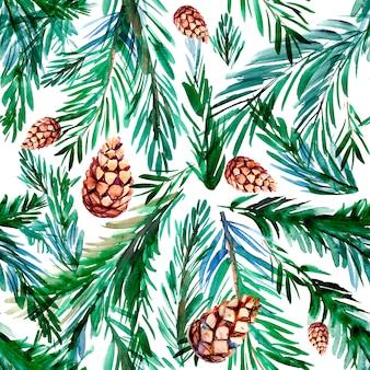 Padrão sem emenda com galhos de pinheiro e cones. ilustração em aquarela