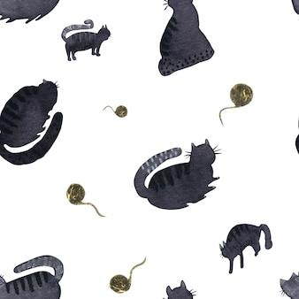 Padrão sem emenda com gatos pretos e bolas de fios dourados em aquarelas