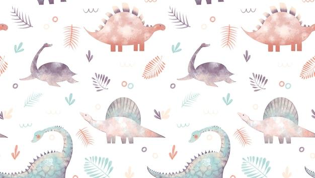 Padrão sem emenda com ilustração de dinossauros rabisca folhas de palmeira isoladas no fundo branco